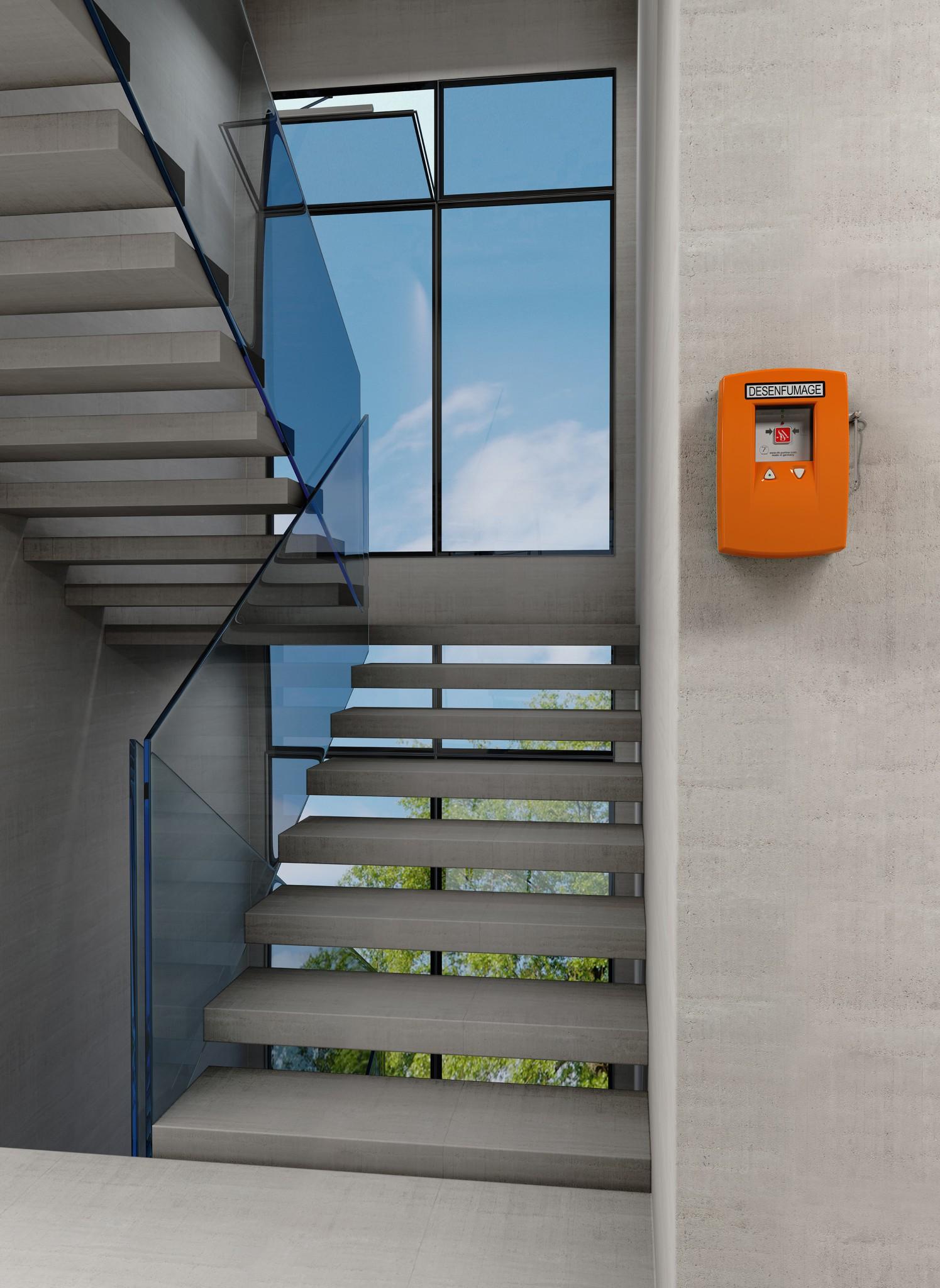 Commande châssis désenfumage ventilation cage escalier
